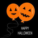 Two cute cartoon funny orange balloon pumpkin with scary smile, eyes and teeth. Stock Photography