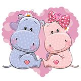 Two Cute Cartoon Hippos Stock Image
