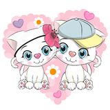 Two Cute Cartoon Kittens. On a background of heart Stock Photography