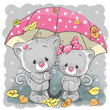 Two cute cartoon kittens with umbrella Stock Image
