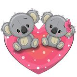 Two Cute Koalas on a heart. Two cute Cartoon Koalas are sitting on a heart Royalty Free Stock Photos