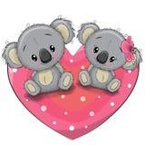 Two Cute Koalas on a heart Royalty Free Stock Photos