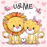 Two cute Lions on a hearts background. Two cute Cartoon Lions on a hearts background royalty free illustration