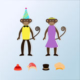 Two cute cartoon monkeys in clothes and hats.. Vector illustration Stock Photos