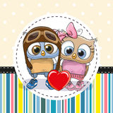 Two cute Cartoon Owls Stock Images