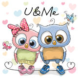 Two cute Cartoon Owls Stock Photo