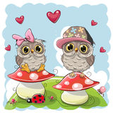 Two Cute Cartoon Owls on mushrooms Stock Photo