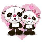 Two Cute Cartoon Pandas Royalty Free Stock Photos