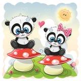 Two Cartoon pandas are sitting on mushrooms Stock Photos
