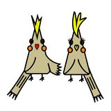 Two cute cartoon birds royalty free illustration