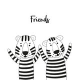 Two cute cartoon tigers friends. Black and white coloring page. Stock Photo