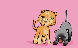 Two cute cat. Vector illustration 2 cute cat in funny cartoon style Stock Images