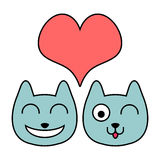 Two cute cats in love Royalty Free Stock Image