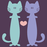 Two cute cats in love Stock Images