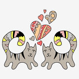 Two cute cats in love. Two cute hand drawn cats in love Stock Photo