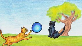 Two cute cats outside playing with balls animation 2019 MP4 stock footage
