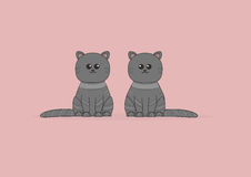 Two cute cats on pink background illustration Royalty Free Stock Image