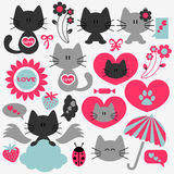 Two Cute Cats Set Of Romantic Elements Royalty Free Stock Photography