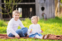Two cute caucasian small kids, boy and girl, sitting in a grass Royalty Free Stock Photography