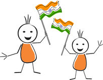 Two cute character holding the national flag. Royalty Free Stock Photography