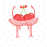 Two cute cherry ballerinas in skirt-tutu and pointe shoes. Stock Photos