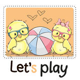 Two Cute chicks Stock Photography