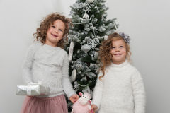 Two cute child girls with gifts, Christmas tree Stock Photography