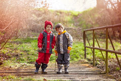 Two cute children, boy brothers, playing together in the park, r Stock Image