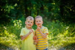 Two cute children, boy friends,  drinking water in the park in l. Two beautiful children, boy friends,  drinking water in the park in late sunny summer Royalty Free Stock Photos