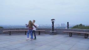 Cute children dance outdoors stock video