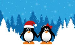 Two cute christmas penguins on snowy winter forest background royalty free illustration
