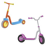 Two cute color kick scooter. For boy and girl. Push scooter isolated on white background. Eco transport for kids. Vector illustrat. Two cute color kick scooter Royalty Free Stock Images