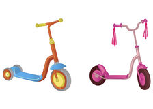 Two cute color kick scooter. For boy and girl. Push scooter isolated on white background. Eco transport for kids. Vector illustrat. Two cute color kick scooter Royalty Free Stock Photography