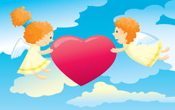 Two cute cupids Stock Photography