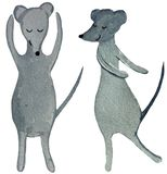 Two dancing cartoon rats on a white background. watercolor illustration for design of posters, prints, cards, magazines stock image