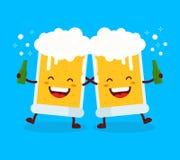 Two cute dancing fun friend drunk beer glasses Stock Images