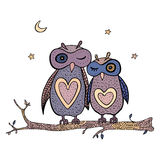 Two cute decorative owls. Stock Photos