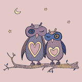 Two cute decorative owls. Royalty Free Stock Images