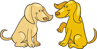 Two cute dogs. Cartoon illustration of two cute dogs Stock Photos