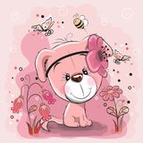 Two Cute Dogs with flowers. On a pink background royalty free illustration