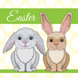 Two cute easter bunnies with big ears on seamless background Royalty Free Stock Photos