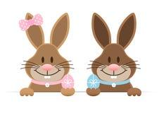 Easter Bunnies Boy And Girl Holdung Egg Horizontal stock illustration