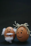 Two cute eggs. Hand painted face on eggs Stock Images