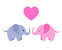Two cute elephants with heart isolated on white background Stock Photography