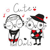 Two Cute fashion owls Stock Photos