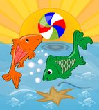 Two cute fishes playing with ball in the sea. Orange fish throws the ball green fish, the sun shining over the sea. Cheerful summe Stock Image