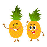 Two cute and funny pineapple characters, one tickling the other. Cartoon vector illustration isolated on white background. Couple of funny pineapple characters Stock Photography