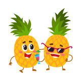 Two cute and funny pineapple characters, one tickling the other Stock Images