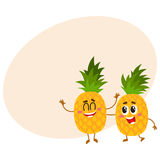 Two cute and funny pineapple characters, one tickling the other Stock Image