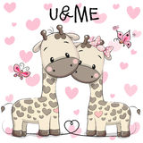 Two cute giraffes. On a hearts background Stock Photography
